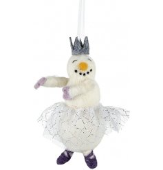 An enchanting snowman ballerina woolly decoration complete with crown and skirt.