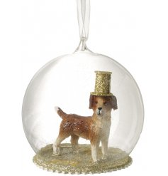 A fun and unique party dog glass bauble with a gold glitter top hat.