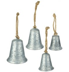 A set of 4 rustic metal bells with chunky rope hangers. A stunning display and interior decor item.