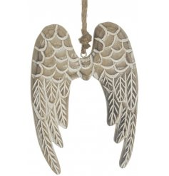 Hanging wooden angel wings decoration