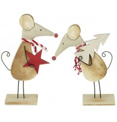 Set of two wooden mice with a star and tree