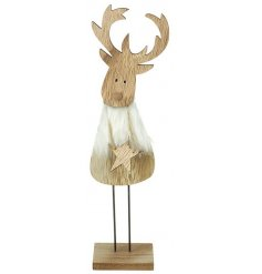 Standing wooden reindeer with fur