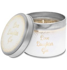 Love, Laughter and Gin with this gorgeous white and gold candle tin with a gold glitter candle. A chic gift item.
