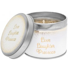 Love, Laughter and Prosecco with this gorgeous white and gold candle tin with a gold glitter candle. A chic gift item.