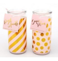 These gorgeous glass candle tubes come packaged in a beautiful pink and gold spotted decal, complete with pink bow on to