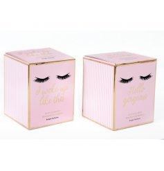 Pink Prosecco and Gardenia Rose scented candles in pot from the popular Eyelashes range. A chic and pretty gift item.