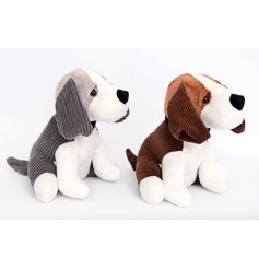 A mix of 2 adorable dog doorstops made from plush fabric in grey and brown assortments.