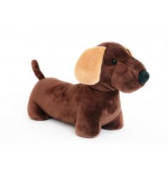 A charming dachshund design doorstop made from plush, soft to touch fabric.