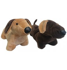An adorable assortment of Sausage Dog fabric doorstopa. A plush homeware item in a popular design.
