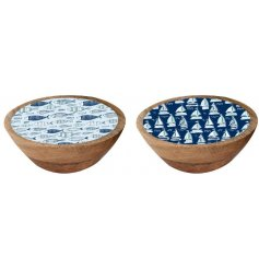 A mix of natural wooden bowls, assorted by their enamel printed accents and nautical inspired colours