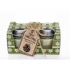 A set of 2 cosy Christmas candles which are beautifully fragranced. A lovely seasonal gift item.