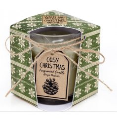 A gorgeous cosy Christmas fragranced candle with gift packaging and bow.