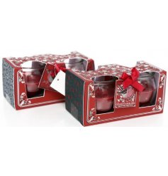 Bring a Nordic Red feel to your home interior at Christmas with this charmingly packaged set of scented candle pots