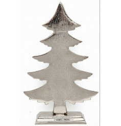 A sleek and stylish standing aluminium tree decoration featuring a distressed mottled effect