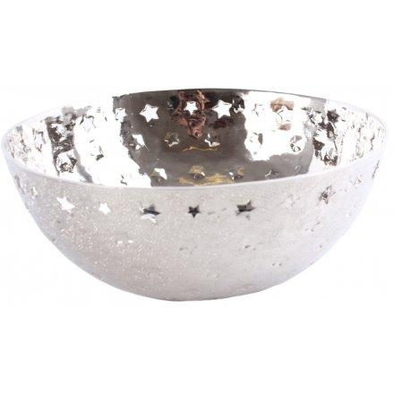 Glittery Silver Star Cut Bowl 26cm