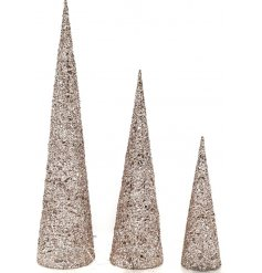 A set of 3 glitter covered cones wrapped with added LED lights