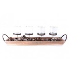 Bring a touch of the woodlands into your home with this stylishly simple wooden tray with added tlight holder spaces