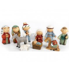 A cute 10 piece nativity set, perfect for celebrating the holidays