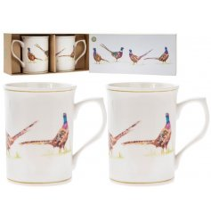 A set of 2 mugs with a beautifully illustrated pheasant design. A chic country living gift.