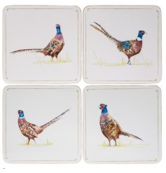 A set of 4 beautifully illustrated pheasant design coasters.