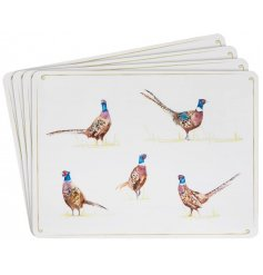 A set of 4 country living placemats with a stylish pheasant design.
