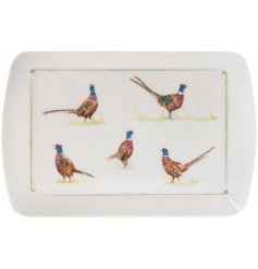 A small tray with an attractive pheasant print. A charming country living gift item.