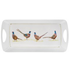 A double handle tray with a charming pheasant design. A stylish, country living gift item.