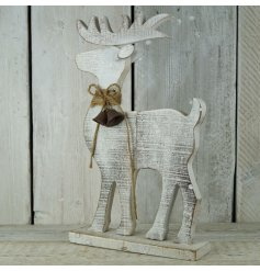A rustic wooden reindeer figure with a sparkly finish. Complete with rustic bells and a jute bow.