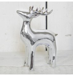 An elegant shiny silver reindeer decoration. A classic ornament for the festive season. Also available in large.