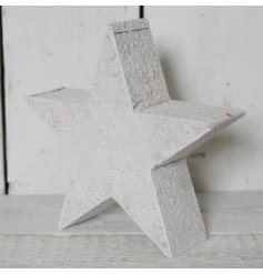 A stunning 3D metal star with an embossed star pattern. Complete with a glittery finish.