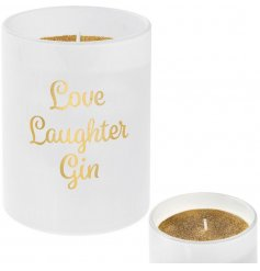 A gold glitter candle set within a stylish Love Laughter Gin slogan pot. A popular gift item from the Desire range.