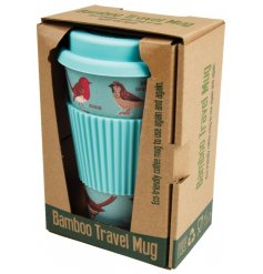 A stylish garden birds design travel mug with presentation box. An eco-friendly and re-usable travel mug.