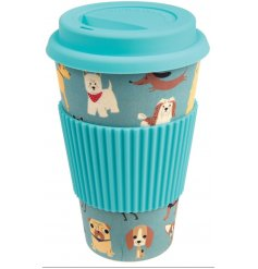 An Eco-Friendly Bamboo Travel Mug complete with an adorable dog print!