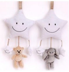 An adorable assortment of hanging plush mobile, a perfect accessory to any bedroom space