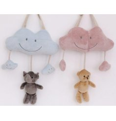 An adorable mix of hanging plush baby mobiles with dangling bear and elephant decals