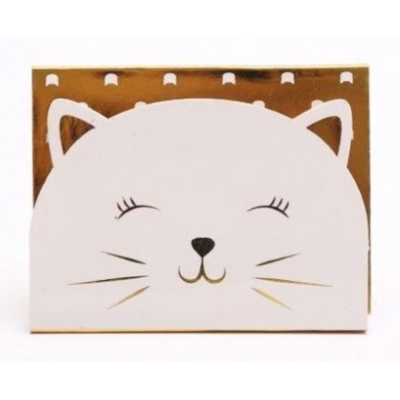 White and Gold Cat Magnetic Memopad