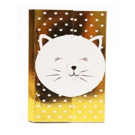 White and Gold Cat Magnetic Memopad, 18cm