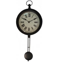 Bring a rustic charm to any home space with this large distressed wall clock with an added swinging pendulum feature