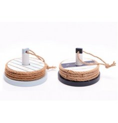 Bring a touch of seaside to any home interior with these chunky rope finished wooden coasters