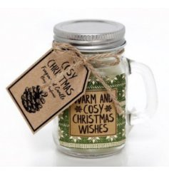 Warm and cosy Christmas wishes. A beautifully scented candle set within a glass mason jar.