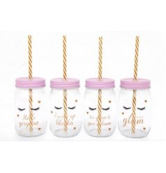 A mix of 4 Eyelash design slogan jars with pretty dainty hearts, pink lids and stripe straws.