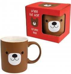 An adorable bear design mug with gift box. A unique mug with a matte finish, featuring Bruno the Bear.
