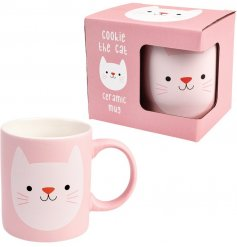 A stylish and unique Cookie the cat design mug. This item has a stylish matte finish and presentation box