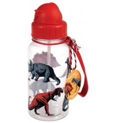 A colourful dinosaur design water bottle with a built in straw and handy carry strap.