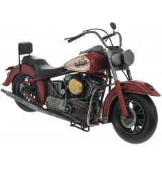 A fine quality motorbike model in red. An authentic model for motorbike enthusiasts.