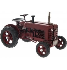 From the Leonardo Range, a fine quality Metal Tractor Ornament in a Red Tone