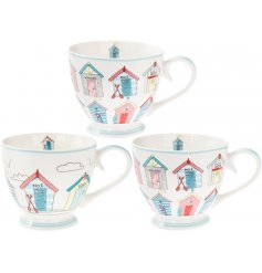 A charming beach hut design mug. A quirky seaside inspired mug and gift item.