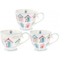 An assortment of 3 beach hut design mugs, each brimming with plenty of coastal charm.