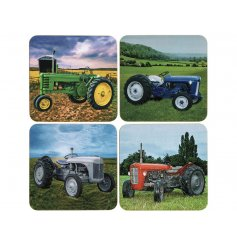 A set of 4 country living style coasters, each depicting a different tractor model.
