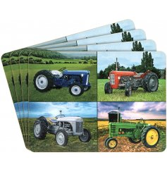 A set of 4 coasters, each with 4 photographic tractor models depicted.